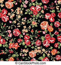 afdrukken, rozen, zwart rood