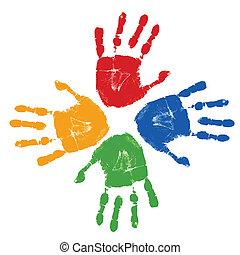 afdrukken, set, kleurrijke, hand