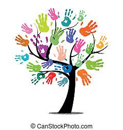afdrukken, vector, boompje, kleurrijke, hand