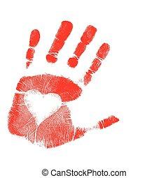 afdrukken, vector, liefde, /, hand