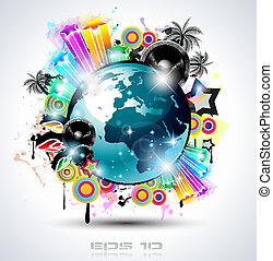 affiches, achtergrond, elements., club, disco, internationaal, dans, ideaal, ontwerp, reclame, partij, flyers, muziek, gebeurtenis, panels.