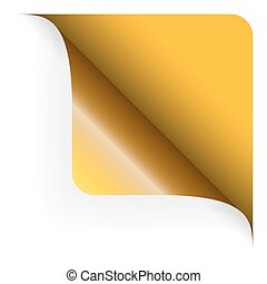 afgerond, bovenzijde, -, gele, papier, hoek