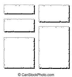 afgescheurde, set, oud, frame, papier, witte , schaduw