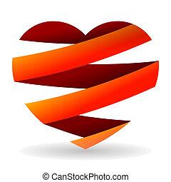 afgesnijdenene, hart, rood