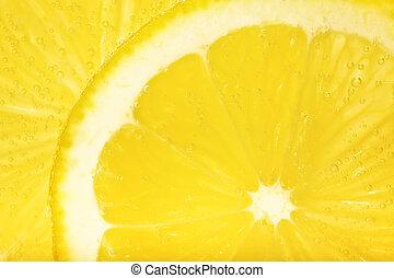 afgesnijdenene, macro., citroen, close-up., schijfen
