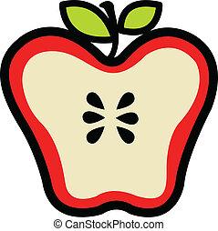 afgesnijdenene, rood, helft, appel, sappig