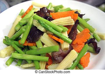 afgesnijdenene, velen, groentes, types, dish.