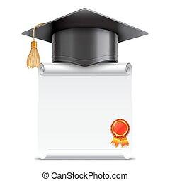afgestudeerd, boekrol, pet, diploma