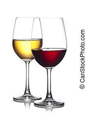 af)knippen, glas, vrijstaand, omvat, achtergrond., bestand, witte , path., rode wijn