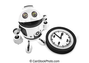 af)knippen, illustration., isolated., bevat, robot, clock., steegjes, 3d
