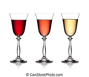 af)knippen, set, achtergrond, roos, omvat, glas, bestand, wit rood, path., wijntje
