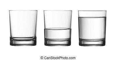 af)knippen, volle, vrijstaand, waterglas, laag, helft, included, steegjes, witte , lege