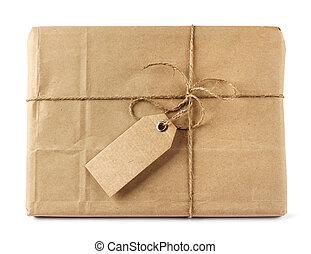 aflevering, bruine , label, post, verpakken