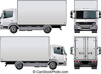aflevering, /, vrachtwagen, lading