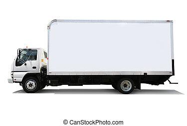 aflevering, witte , vrachtwagen