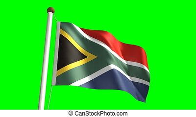 &, afrika, vlag, groene, (loop, zuiden, scr