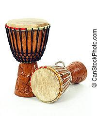 afrikaan, djembe, trommels, twee