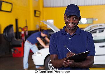 afrikaan, schrijvende , amerikaan, werktuigkundige, voertuig, rapport, mannelijke