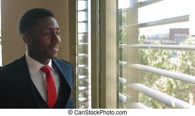 afro-amerikaan, delen, zakelijk, succesvolle , na, verticaal, zakenman
