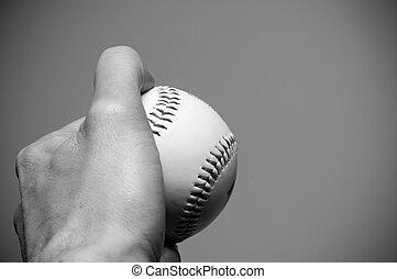 afsluiten, honkbal, op, holdingshand