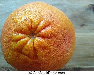 afsluiten, kleurensinaasappel, rode achtergrond, houten, op, grapefruit