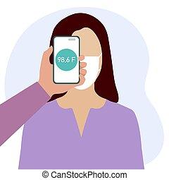 afstand, mensen, scanderen, temperatuur, telefoon, gezondheid