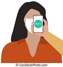 afstand, telefoon, mensen, gezondheid, scanderen, temperatuur