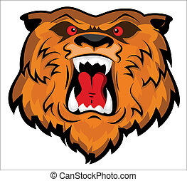 agressief, hoofd, beer, mascotte