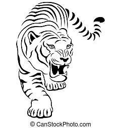 agressief, tiger, jacht
