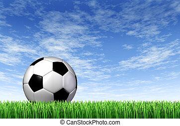 akker, achtergrond, bal, voetbal, gras