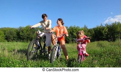 akker, bicycles, tegen, gezin, bos