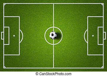 akker, bovenzijde, bal, aanzicht, voetbal