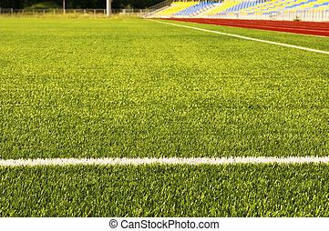 akker, grass., voetbal, groene, stadion