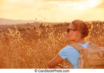 akker, het genieten van, tarwe, ondergaande zon