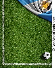 akker, vlag, bal, argentinië, voetbal