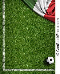 akker, vlag, bal, italië, voetbal