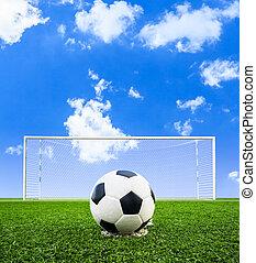 akker, voetbal, gras, groene bal