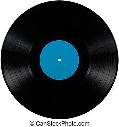 album, blauwe , toneelstuk, disc;, vrijstaand, lang, etiket, black , vinyl, lp, leeg, cyan, schijf