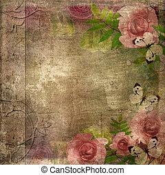 album, (, dekking, ruimte, rozen, set), 1, tekst, ouderwetse