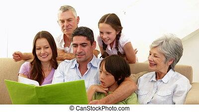album, gezin, breidde uit, het kijken, foto