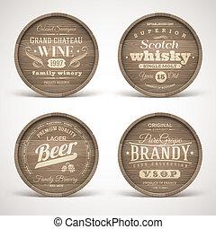 alcohol, dranken, vaten, houten