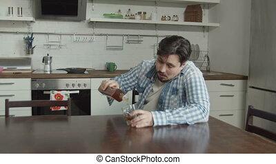 alcohol, huiselijk, rouw, drinkt, keuken, man