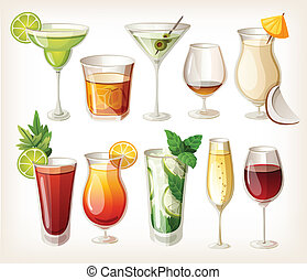 alcohol, verzameling, coctails