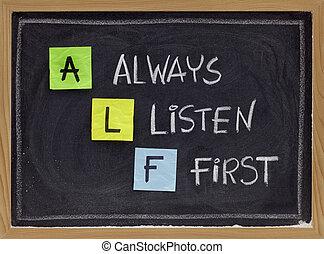 alf, always, -, acroniem, eerst, luisteren