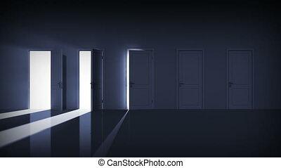 alfa, deuren, opening., rechts, choice.
