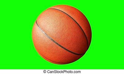 alfa, groene, vertolking, bal, basketbal, animatie, channel., 3d, het spinnen, scherm, 4k
