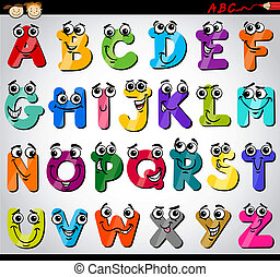 alfabet, brieven, spotprent, illustratie, hoofdstad