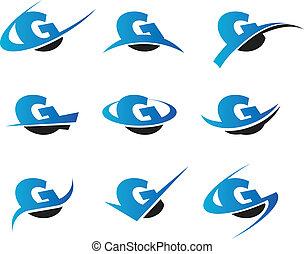 alfabet, g, iconen