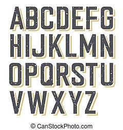 alfabet, gestyleerd, retro, textured