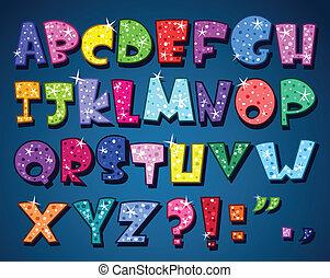 alfabet, het fonkelen